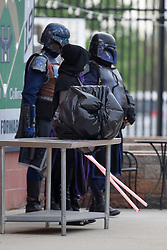 12 May 2018:  Star Wars Imperial Death Trooper during a Frontier League Baseball game between the Traverse City Beach Bums and the Normal CornBelters for Star Wars Night at Corn Crib Stadium on the campus of Heartland Community College in Normal Illinois
