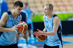 Samuel Haanpää of Finnland and Sasu Salin of Finnland at practice session of team Finnland 1 day before the beginning of Eurobasket 2013 on September 3, 2013 in Arena Bonifika, Koper, Slovenia. (Photo by Matic Klansek Velej / Sportida.com)
