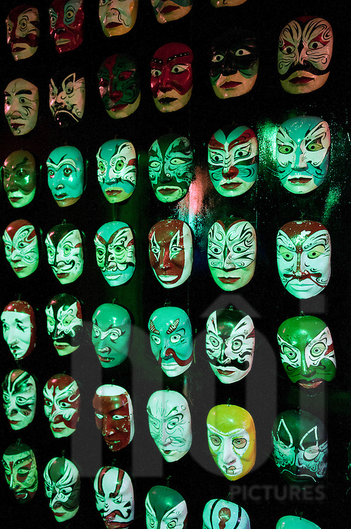 Decorated traditional masks in Hue Imperial City, Vietnam, Southeast Asia