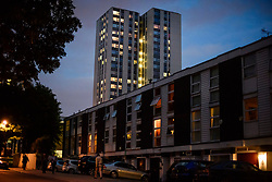 © Licensed to London News Pictures. 23/06/2017. London, UK. General view of Burnham Tower Block where residents being evacuated from on the Chalcots Estate in Camden after it failed a fire inspection because of combustable cladding. Prime Minister Theresa May has told Parliament that up to 600 high rise tower blocks may have similar cladding to that found in Grenfell Tower, which went on fire last week, in which as many as 79 residents are thought to have perished Photo credit: Ben Cawthra/LNP
