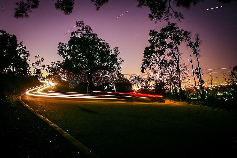 Long exposure light trails, shot at the Zig Zag Scenic Drive, Kalamunda, Western Australia.