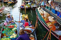Thailande, province de Ratchaburi, Damnoen Saduak, marche flottant // Thailand, Ratchaburi province, Damnoen Saduak, flotting market
