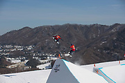 Team GB during the snowboard slopestyle practice on the 7th February 2018 at Phoenix Snow Park for the Pyeongchang 2018 Winter Olympics in South Korea