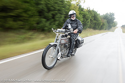 Peter Reeves of England riding his 1915 Harley-Davidson through the rain during the Motorcycle Cannonball Race of the Century. Stage-7 from Springfield, MO to Wichita, KS. USA. Friday September 16, 2016. Photography ©2016 Michael Lichter.