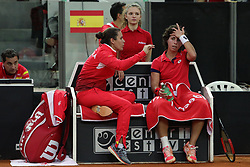 February 11, 2018 - Chieti, CH, Italy - Carla Suarez Navarro of Spain team talk with Anabel Medina captain of Spain team during 2018 Fed Cup BNP Paribas World Group II First Round match between Italy and Spain at Pala Tricalle ''Sandro Leombroni'' on February 11, 2018 in Chieti, Italy. (Credit Image: © Danilo Di Giovanni/NurPhoto via ZUMA Press)