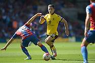 Jack Grealish of Aston Villa © goes past James McArthur of Crystal Palace. Barclays Premier league match, Crystal Palace v Aston Villa at Selhurst Park in London on Saturday 22nd August 2015.<br /> pic by John Patrick Fletcher, Andrew Orchard sports photography.