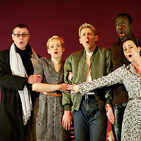 (l-r)Andrew Shore,Peter Savidge, Rachel Nicholls,Hilton Marlton, Derrick Parker and Rachel Hynes during the Scottish Opera production of The Knot Garden by Michael Tippett. Opening at The Theatre Royal Glasgow ( January 19th/22nd/ 25th/ 29th 2005) with two performances at Edinburgh Festival Theatre (3rd / 5th Februray). Picture © Drew Farrell . (Drew Farrell  07721- 735041 ) . Scottish Opera Contact : Press Manager Libby Jones Tel 0141 248 4567. Note to Editors:  This image is free to be used editorially in the promotion of the forthcoming production. Without prejudice ALL other licences without prior consent will be deemed a breach of copyright under the 1988. Copyright Design and Patents Act  and will be subject to payment or legal action, where appropriate.