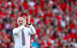 Burnley manager Sean Dyche applauds the fans after the final whistle