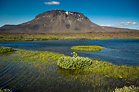 """The 1682m high mountain Herðubreið is an example of a table mountain, <br /> or """"stapi"""", formed from an eruption under a glacier, giving it a flat top."""
