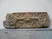 Lintel from the temple at  Prasat Koki, Campodia. Style of Kulen (800-850) AD sandstone sculpture