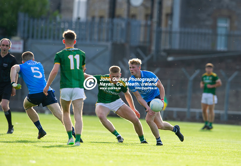 15-07-21. Meath v Dublin - Eirgrid Leinster U-20 Football Championship Semi-Final at Pairc Tailteann, Navan.<br /> Mark O'Leary, Dublin about to pass the ball to Rory Dwyer against Meath in the Leinster U-20 Football Championship Semi-Final at Pairc Tailteann, Navan.<br /> Photo: John Quirke / www.quirke.ie<br /> ©John Quirke Photography, 16 Proudstown Road, Navan. Co. Meath. (info@quirke.ie / 046-9028461 / 087-2579454).