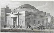 Albion Chapel, Moorgate, engraving from 'Metropolitan Improvements, or London in the Nineteenth Century' London, England, UK 1828 , drawn by Thomas H Shepherd