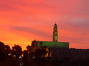 Sunset over the Church and Monastery of St. Peter Jaffa Israel