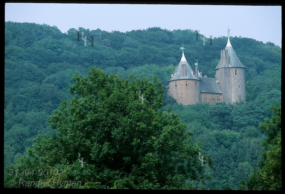 Castell Coch, or Red Castle, nestled in forested bluffs of Taff Valley, was built by Wm Burges for Lord Bute, 1875-91; Cardiff, Wales