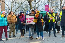 Students and lectures man picket lines and hold a rally on the steps of SOAS (School of Oriental and African Studies) at UCL. Students and staff at UCL man picket lines as and estimated 40,000 University and College Union (UCU) lecturers and academics across the UK strike over changes to their pensions. The strike is the first in a planned series of 14 days of walkouts. UCL, London, February 22 2018.