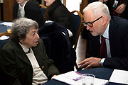 Leader of the Labour party, Jeremy Corbyn speaks with Holocaust survivor, Hana Kleiner on 27th January 2020 in Islington, London, United Kingdom. This year marks the 75th anniversary of the liberated of Auschwitz.