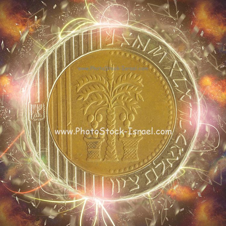 Digitally enhanced image of a Ten New Israeli Shekel coin (ILS or NIS)