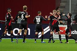 05.11.2011,  BayArena, Leverkusen, GER, 1.FBL, Bayer 04 Leverkusen vs Hamburger SV, im Bild.Torjubel / Jubel  nach dem 2:0 durch Lars Bender (Leverkusen #8) (2R) ..// during the 1.FBL, Bayer Leverkusen vs Hamburger SV on 2011/11/05, BayArena, Leverkusen, Germany. EXPA Pictures © 2011, PhotoCredit: EXPA/ nph/  Mueller       ****** out of GER / CRO  / BEL ******