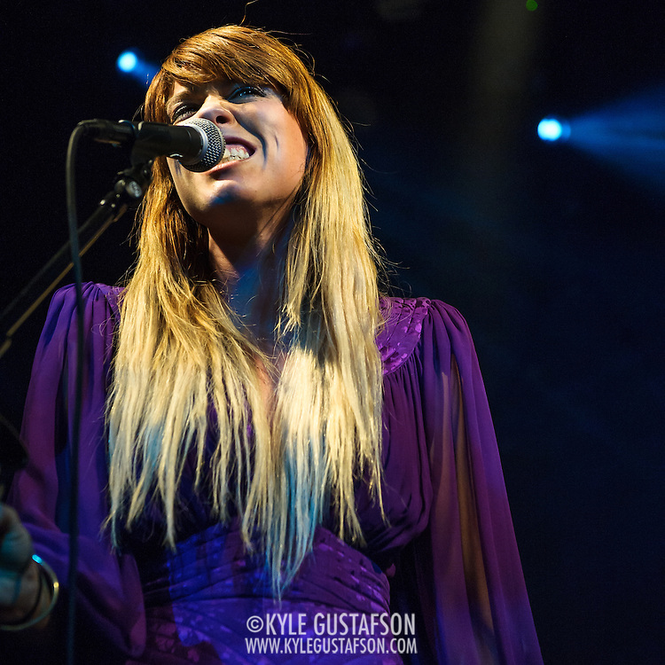 """WASHINGTON, DC - October 10th, 2013 - Hannah Hooper of Grouplove performs at The Hamilton in Washington, D.C. The band's 2011 hit """"Tongue Tied"""" sold over 1 million copies, was featured in an iPod Touch commercial and was covered on the TV show Glee. (Photo by Kyle Gustafson / For The Washington Post)"""
