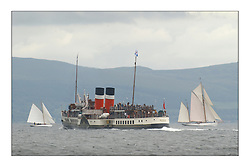 The Waverley passes Viola and Kentra on the Clyde race to Rothesay...This the largest gathering of classic yachts designed by William Fife returned to their birth place on the Clyde to participate in the 2nd Fife Regatta. 22 Yachts from around the world participated in the event which honoured the skills of Yacht Designer Wm Fife, and his yard in Fairlie, Scotland...FAO Picture Desk..Marc Turner / PFM Pictures