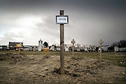Calais, France, 23 Februari 2015, Last year, 2014, was the year in which most refugees died, in total of 14. That same number was reached in 5 years together from 2008 till 2013. People without papers, Sans Papiers, are buried anonymous, with a number, on the cemetary of Calais.