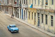 High angle view of vintage car on city street, Havana, Cuba