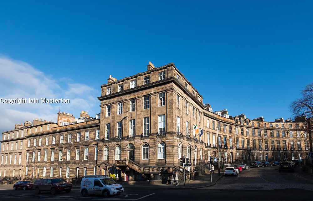 Georgian buildings and Consulate General of Ireland in Edinburgh New town at Lynedoch Street and Randolph Crescent , Scotland, UK.