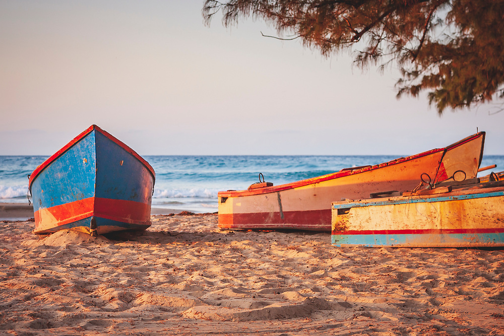 Boats on the beach in Tofo Bay