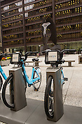 Divvy bike share stand at the Chicago Picasso in the Loop district Chicago USA