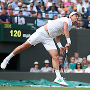 LONDON, ENGLAND - JULY 12:  Tomas Berdych of the Czech Republic in action against Novak Djokovic of Serbia in the Mens' Singles Quarter Final match on Court One during the Wimbledon Lawn Tennis Championships at the All England Lawn Tennis and Croquet Club at Wimbledon on July 12, 2017 in London, England. (Photo by Tim Clayton/Corbis via Getty Images)