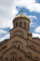 particular of Holy Trinity Cathedral facade architecture in Tbilisi, Georgia,