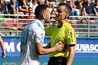 Deportivo de la Coruna's Florin Andone have words with Spanish referee Jaime Latre Santiago during La Liga match. October 15,2017. (ALTERPHOTOS/Acero)