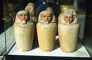 Canopic Jars: These were used to contain viscera of dead person, usually for burial with their mummified body. 26th Dynasty 664-525 BC.