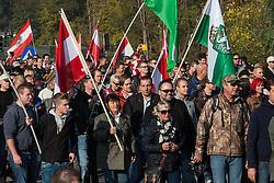 Licensed to London News Pictures. 31/10/2015. Spielfeld, Austria. Anti-migrant protest in Spielfeld, Austria. Photo: Marko Vanovsek/LNP