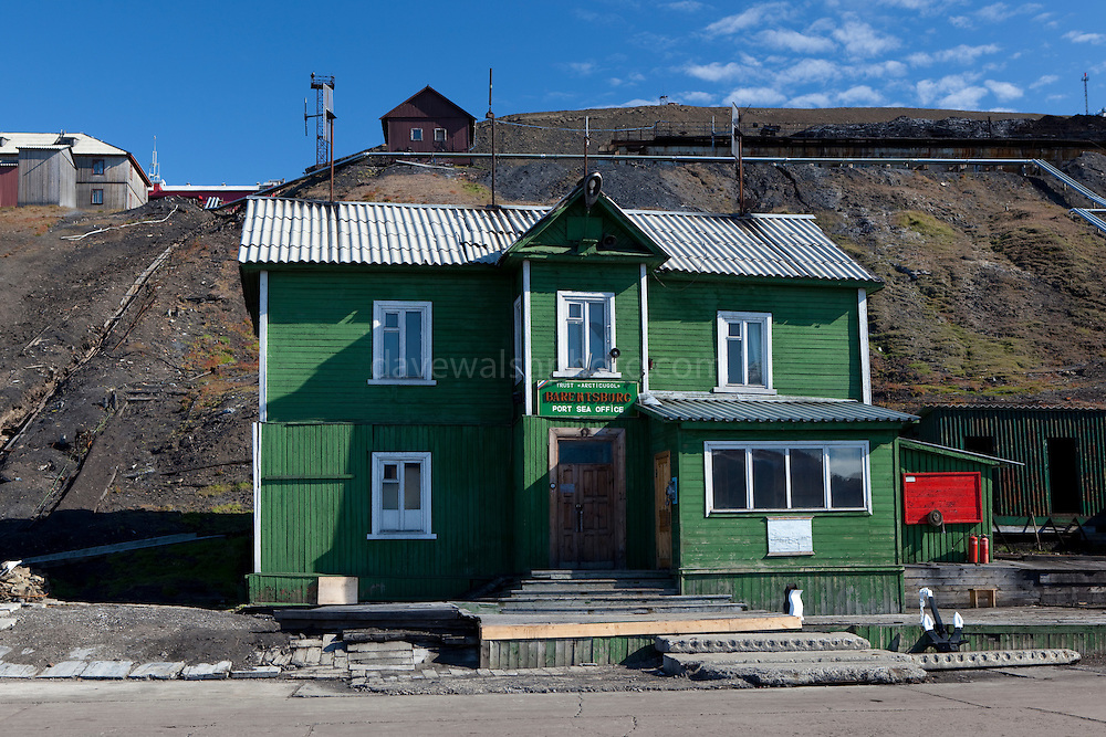 The Barentsburg port sea office. Barentsburg is a Russian coal mining town in the Norwegian Archipelego of Svalbard. Once home to about 2000 miners and their families, less than 500 people now live here.