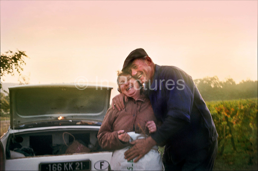 Old couple laughing and hugging during the vandage, 10th September 1976, Burgundy, France.
