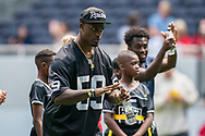 Tahir Whitehead (LB, Oakland Raiders) signals to his team during the NFL UK Media Day at Tottenham Hotspur Stadium, London, United Kingdom on 3 July 2019.