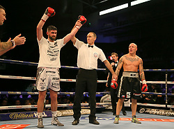 Rocky Fielding (left) has his arm raised after victory over Karel Horejsek following their Super-Middlewight contest at the FlyDSA Arena, Sheffield.