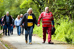 A Worcester Warriors fan and a Gloucester Rugby fan hold hands as they arrive at Sixways Stadium for their side's Gallagher Premiership Rugby fixture - Mandatory by-line: Robbie Stephenson/JMP - 28/04/2019 - RUGBY - Sixways Stadium - Worcester, England - Worcester Warriors v Gloucester Rugby - Gallagher Premiership Rugby