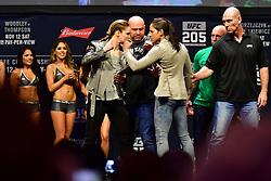Nov 12, 2016 - New York, New York, U.S. - Ronda Rousey and Amanda Nunes during weigh-in at UFC 205 in Madison Square Garden. (Credit Image: ? Jason Silva/ZUMA Wire/ZUMAPRESS.com)