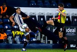 Josh Falkingham of Harrogate Town challenges Lee Peltier of West Bromwich Albion - Mandatory by-line: Robbie Stephenson/JMP - 16/09/2020 - FOOTBALL - The Hawthorns - West Bromwich, England - West Bromwich Albion v Harrogate Town - Carabao Cup