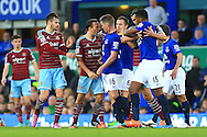 West Ham's Mark Noble goes head to head with James McCarthy of Everton following a challenge - Everton vs. West Ham United - Barclay's Premier League - Goodison Park - Liverpool - 22/11/2014 Pic Philip Oldham/Sportimage