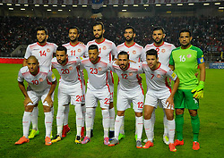 TUNIS, Nov. 12, 2017  Players of Tunisia pose before the FIFA World Cup 2018 qualification match between Tunisia and Libya in Tunis, Tunisia, Nov. 11, 2017. The match ended in a 0-0 tie. Tunisia was qualified for the FIFA World Cup 2018 finals in Russia. (Credit Image: © Adele Ezzine/Xinhua via ZUMA Wire)