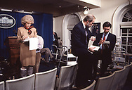 Leslie Stahl in the White House Press briefing room on the first night of Gulf war One<br /><br />Photograph ny Dennis Brack. bb78