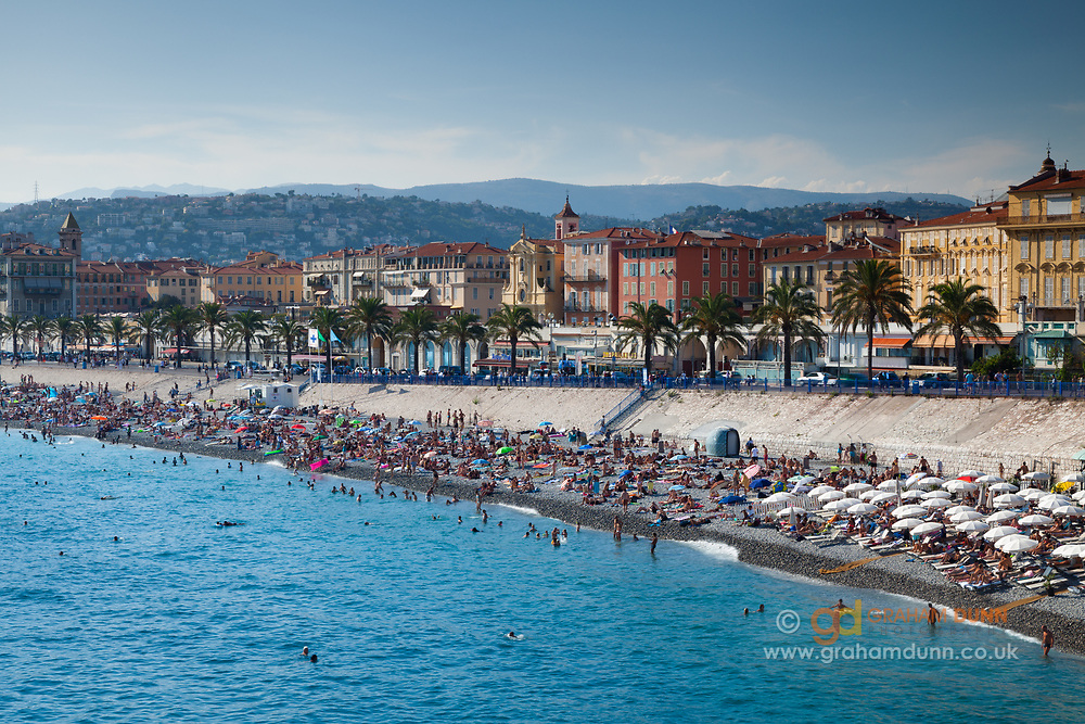 Nice's famous beach and waterfront in the Cote d'Azur, South of France, Europe.
