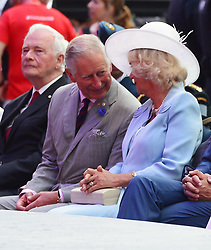 Sharon Johnston, left to right, Governor General David Johnston, Prince Charles, Camilla Duchess of Cornwall, Prime Minister Justin Trudeau, Sophie Gregoire Trudeau, Hadrien Trudeau, Ella-Grace Trudeau and Xavier Trudeau take part in Canada 150 celebrations on Parliament Hill in Ottawa, Canada, on Saturday, July 1, 2017. Photo by Sean Kilpatrick/CP/ABACAPRESS.COM