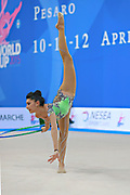 Filiou Varvara during qualifying at hoop in Pesaro World Cup 10 April 2015. Varvara, born on 29 December 1994 in Maurosi,Greece. She is the most famous and awarded Greek athlete of this sport. Varvara is an 8 time Greek National All-around Champion.