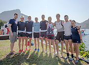 """Rio de Janeiro. BRAZIL. left to right. Lucas MCGEE, Andy T HODGE, Peter REED, Charles COLE, Paul BENNETT, Constantine LOULOUDIS, George DRINKWATER. Mike DISANTO and Zoe DE TOLEDO. Oxford University Rowing Blues, Rio, 2016 Olympic Rowing Regatta. Lagoa Stadium,<br /> Copacabana,  """"Olympic Summer Games""""<br /> Rodrigo de Freitas Lagoon, Lagoa. Local Time 15:15:14  Friday  05 August<br />  2016<br /> [Mandatory Credit; Peter SPURRIER/Intersport Images]"""