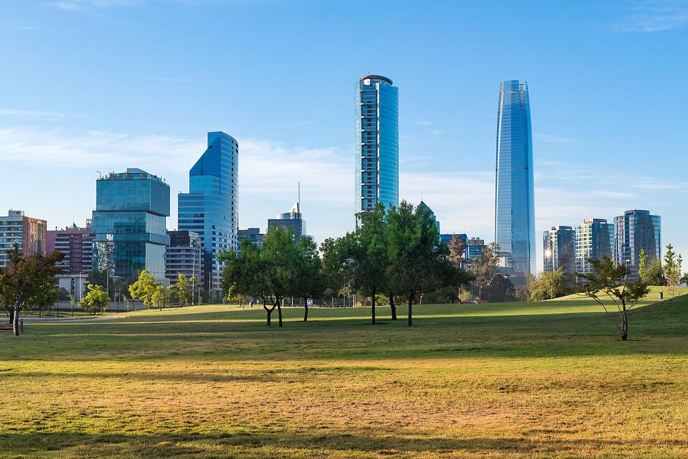 Skyline of buildings at Vitacura and Providencia districts from Parque Bicentenario, Santiago de Chile