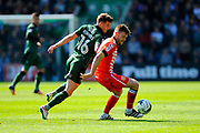 Matthew Kennedy (16) of Plymouth Argyle battles for possession with Oliver Turton (2) of Crewe Alexandra during the EFL Sky Bet League 2 match between Plymouth Argyle and Crewe Alexandra at Home Park, Plymouth, England on 29 April 2017. Photo by Graham Hunt.